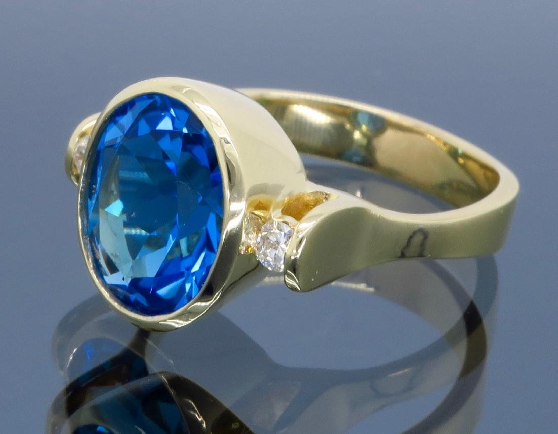 14K Yellow Gold Blue Topaz and Diamond Ring - 2