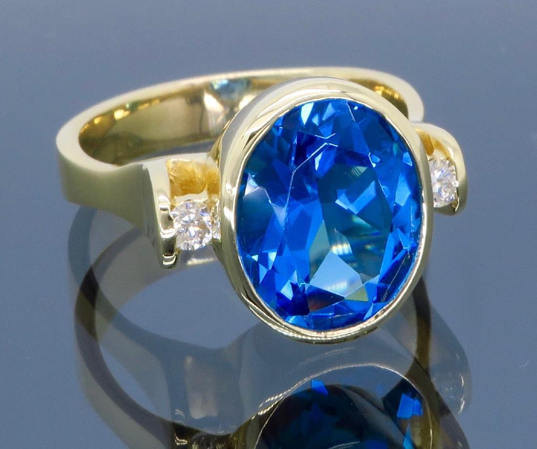 14K Yellow Gold Blue Topaz and Diamond Ring - 3