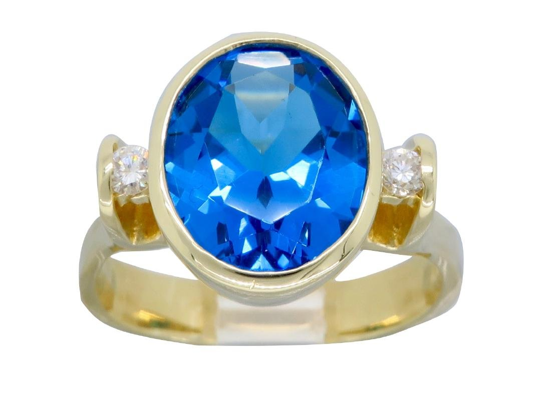 14K Yellow Gold Blue Topaz and Diamond Ring - 4