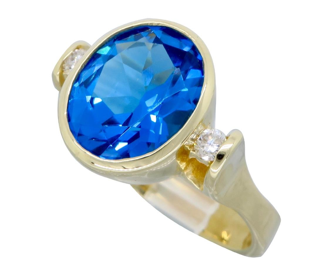 14K Yellow Gold Blue Topaz and Diamond Ring - 5