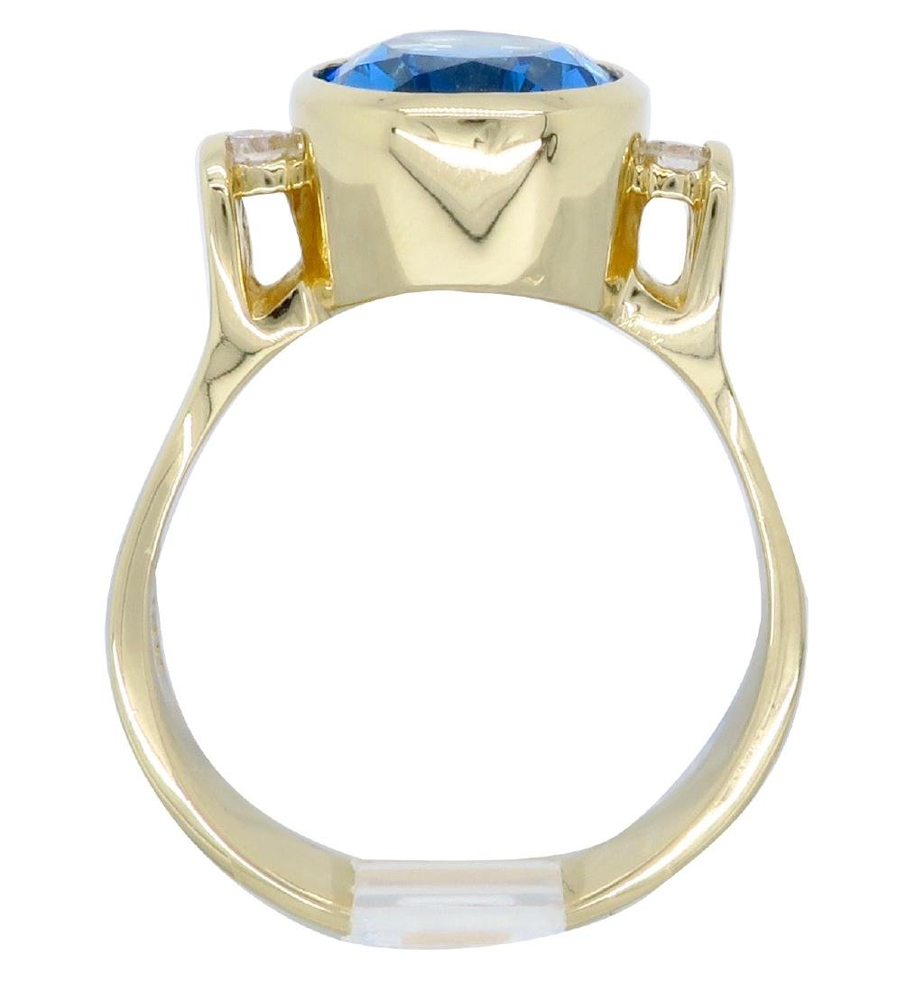 14K Yellow Gold Blue Topaz and Diamond Ring - 6