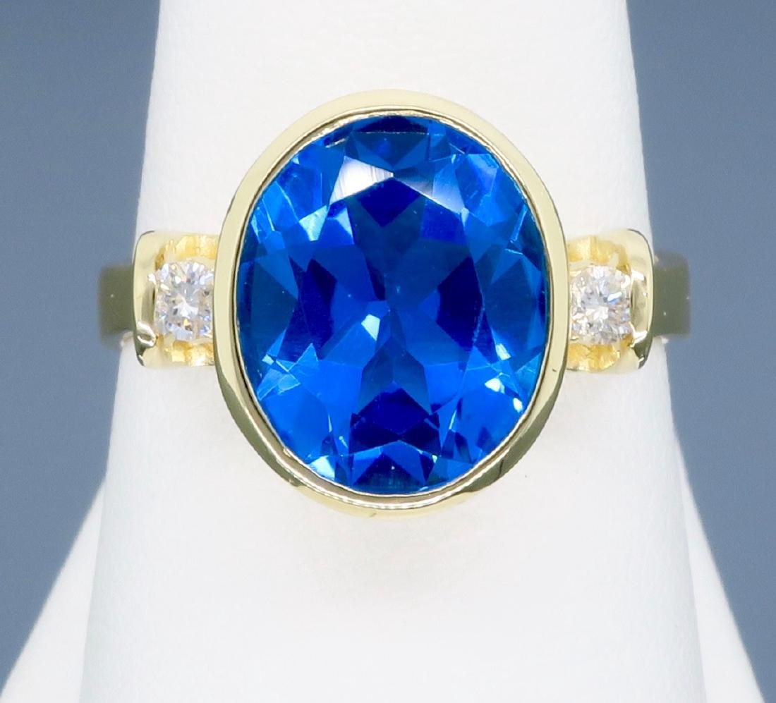 14K Yellow Gold Blue Topaz and Diamond Ring - 7