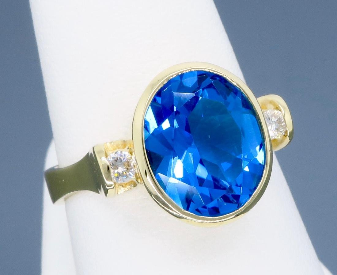 14K Yellow Gold Blue Topaz and Diamond Ring - 8