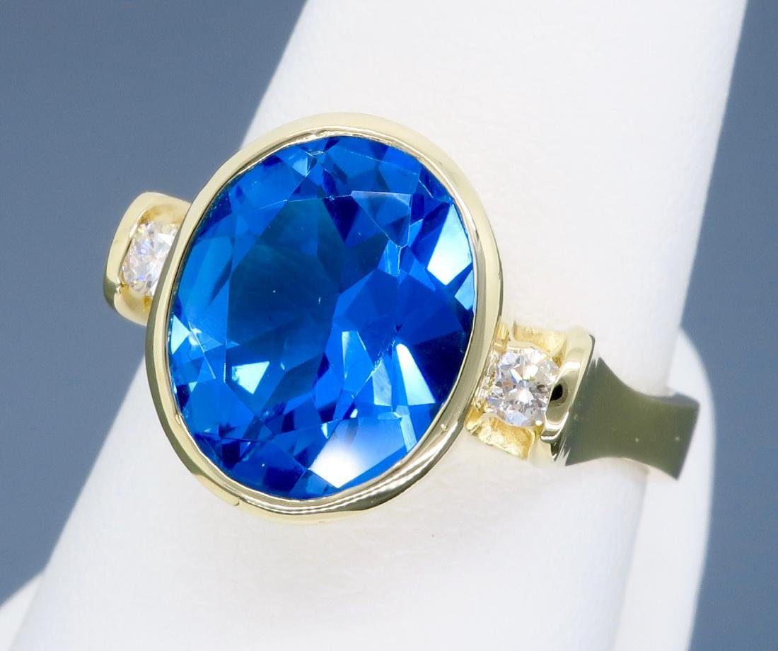 14K Yellow Gold Blue Topaz and Diamond Ring - 9