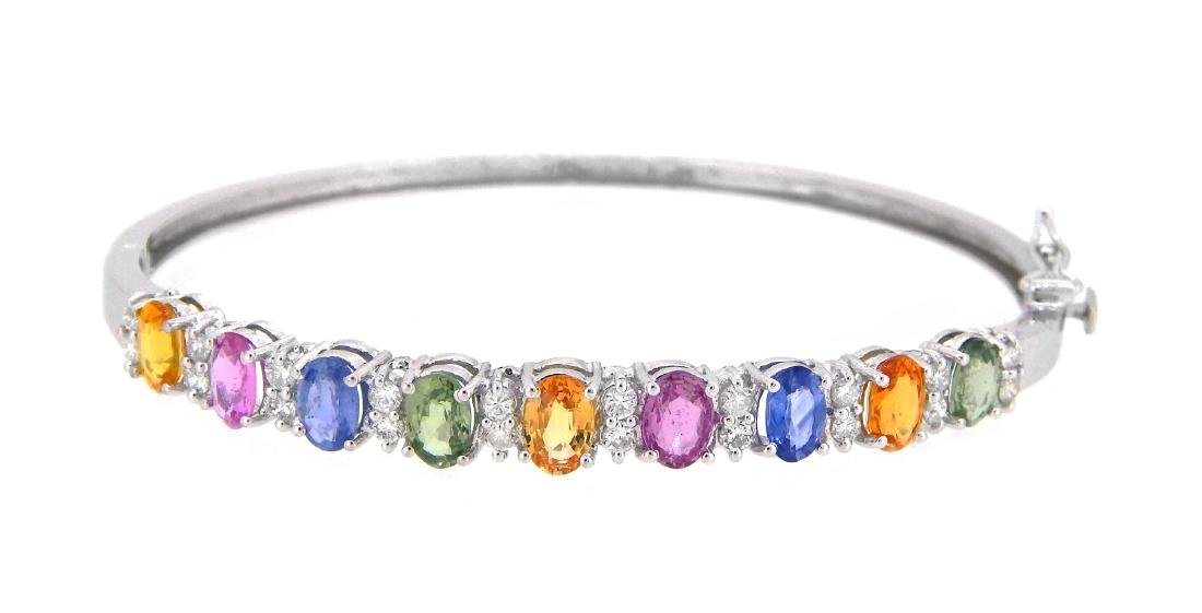 14KT White Gold 4.95ctw Multi Color Sapphire and