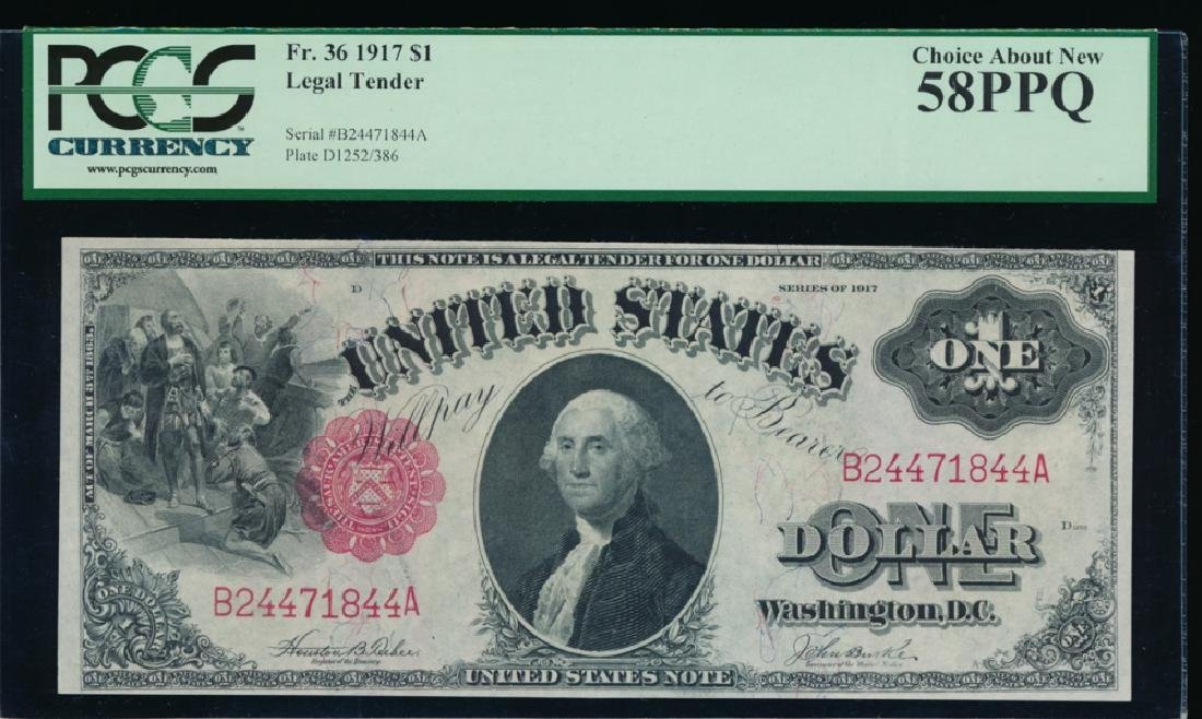 1917 $1 Legal Tender Note PCGS 58PPQ