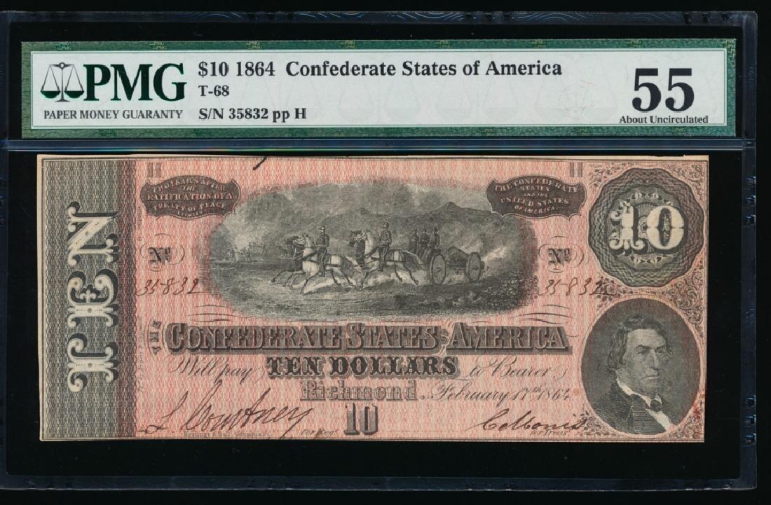 1864 $10 Confederate States of America Note PMG 55
