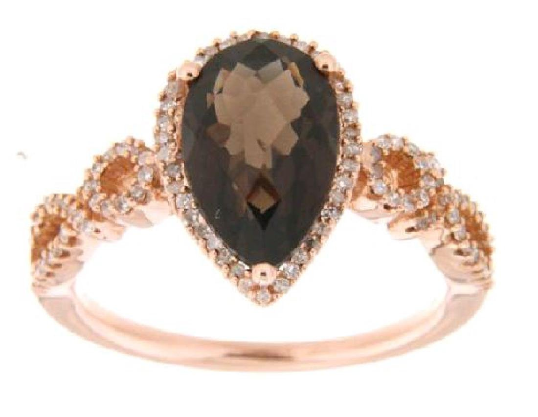14KT Rose Gold 2.26ct Smokey Topaz and Diamond Ring