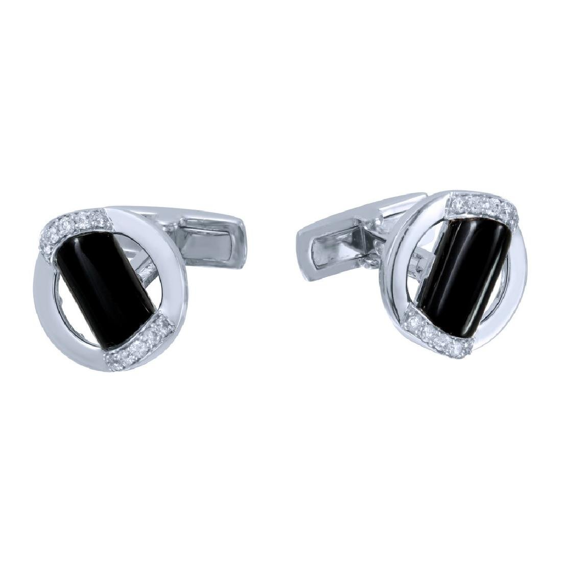 14KT White Gold 5.14ctw Onyx and Diamond Cuff Links