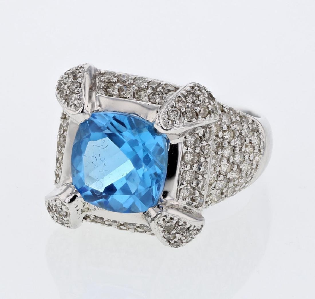 14KT White Gold 4.92ct Blue Topaz and Diamond Ring