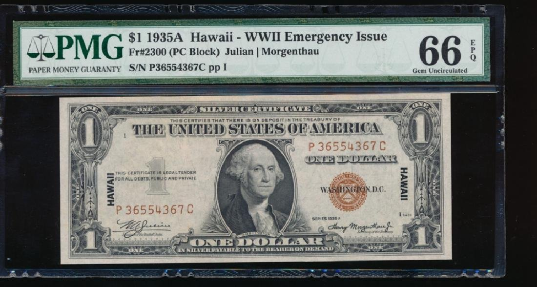 1935A $1 Hawaii WWII Emergency Silver Certificate PMG