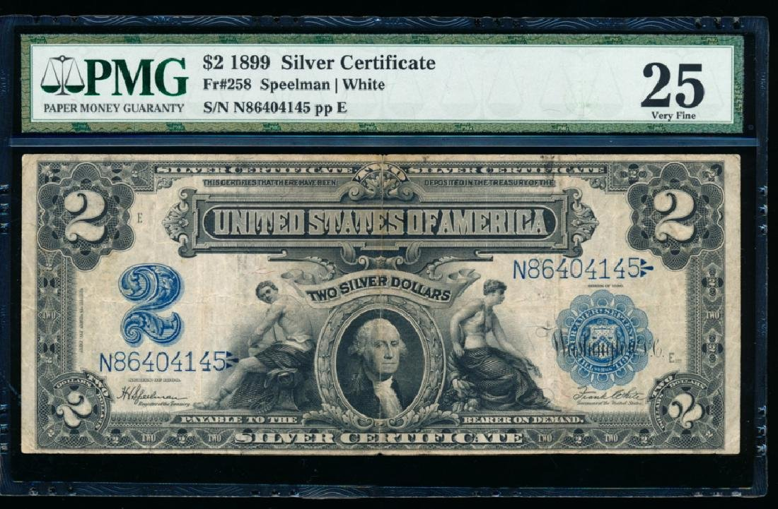 1899 $2 Washington Silver Certificate PMG 25