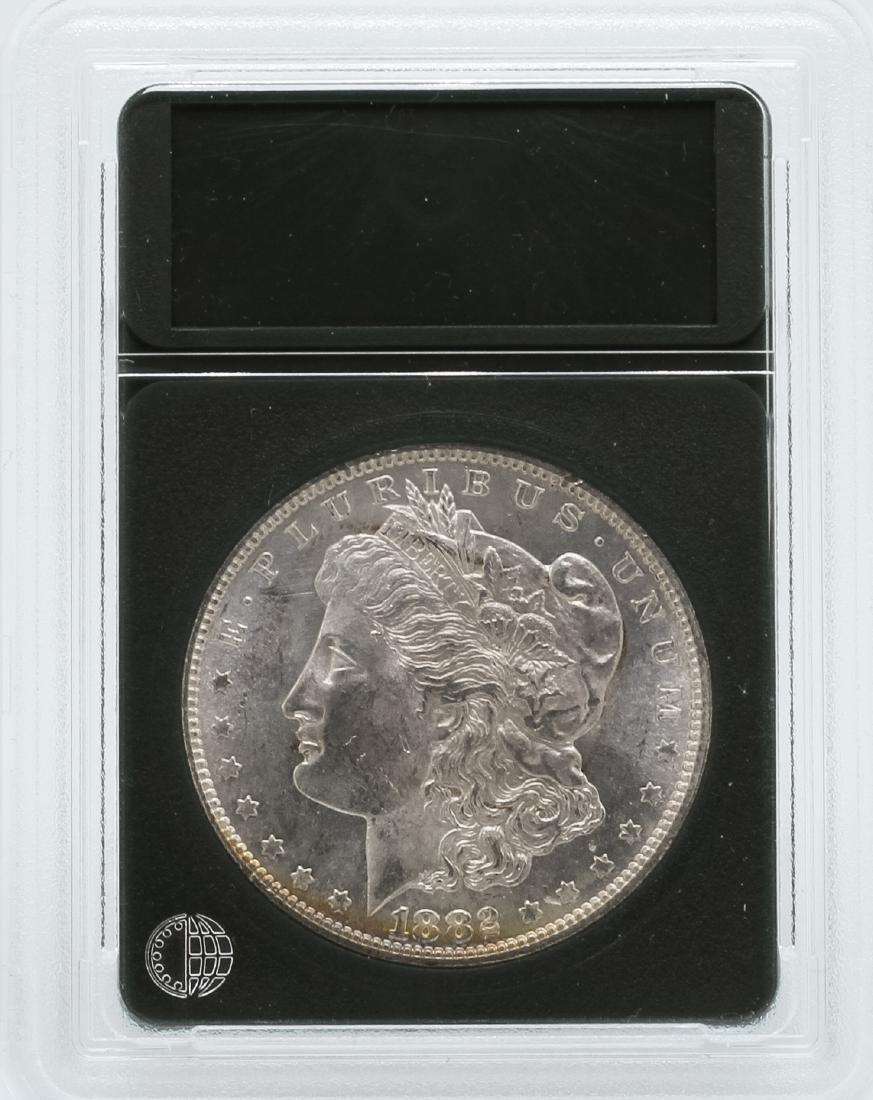 1882-S $1 Morgan Silver Dollar Coin Rainbow Toning