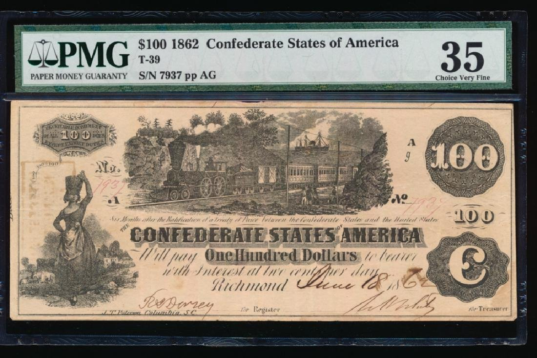 1862 $100 Confederate States of America Note PMG 35
