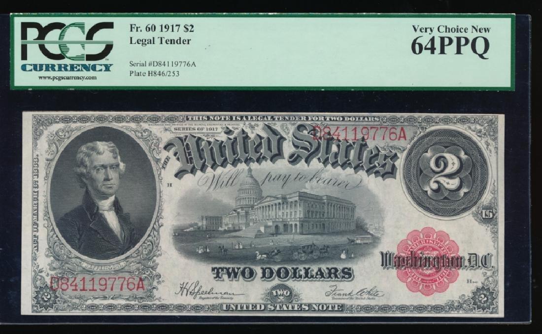 1917 $2 Legal Tender Note PCGS 64PPQ