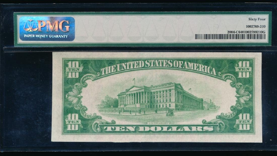 1934 $10 Philadelphia Federal Reserve Note PMG 64 - 2