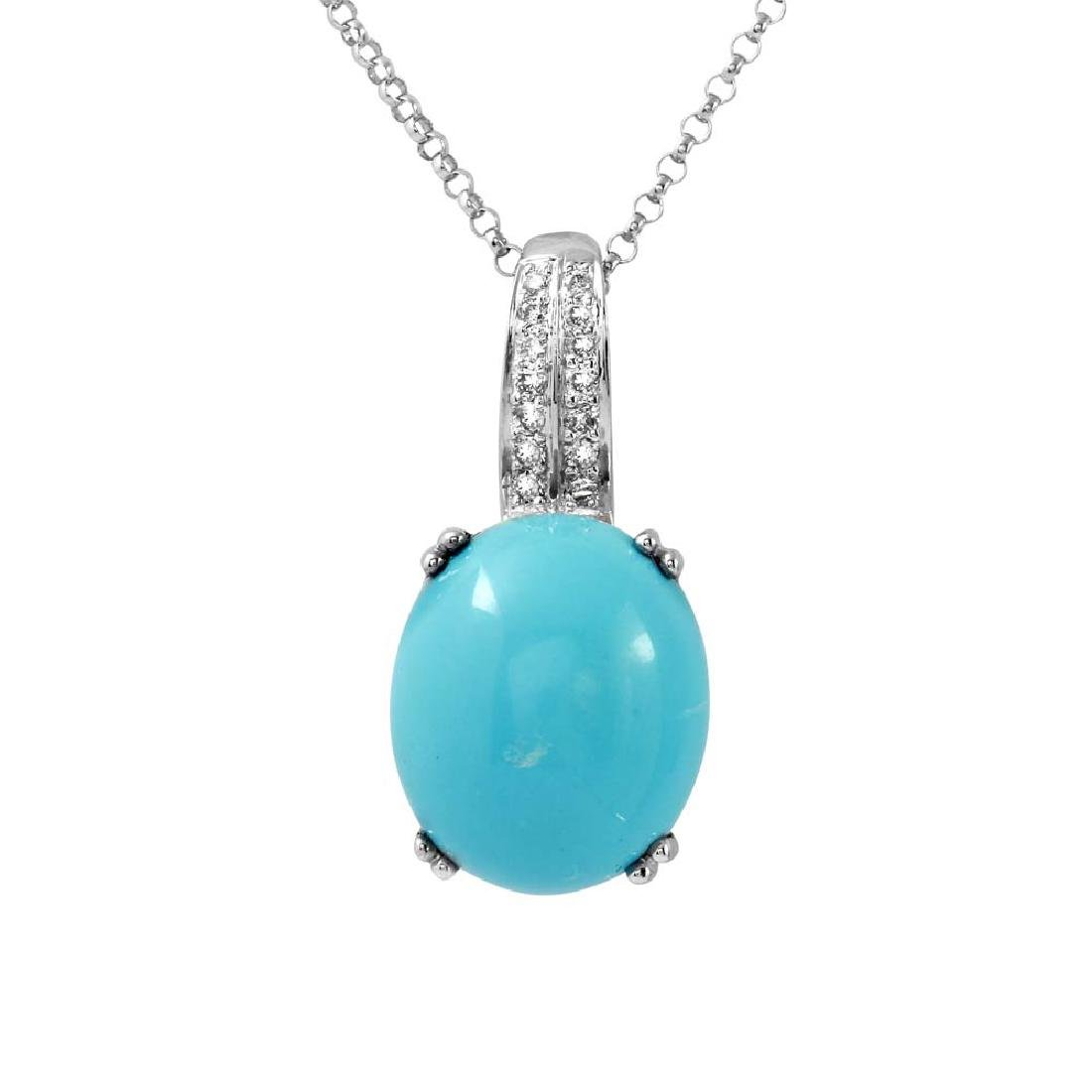 14KT White Gold 5.77ct Turquoise and Diamond Pendant