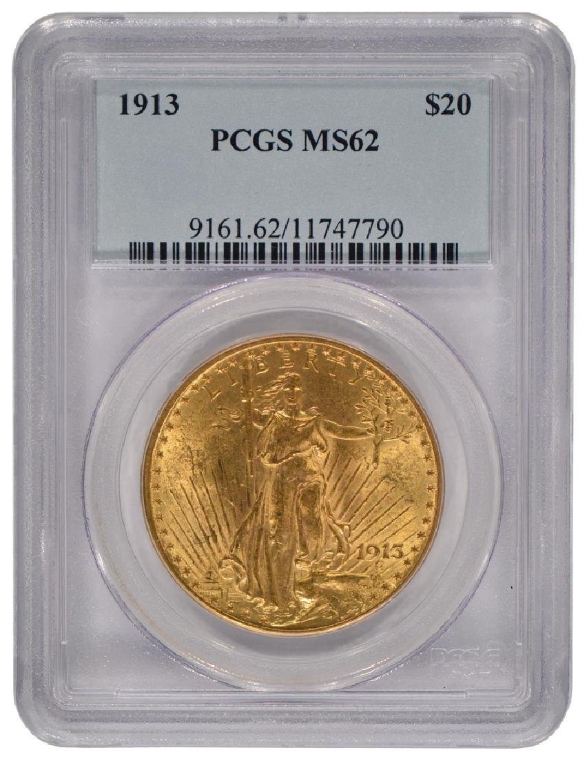 1913 $20 Saint Gaudens Double Eagle Gold Coin PCGS MS62