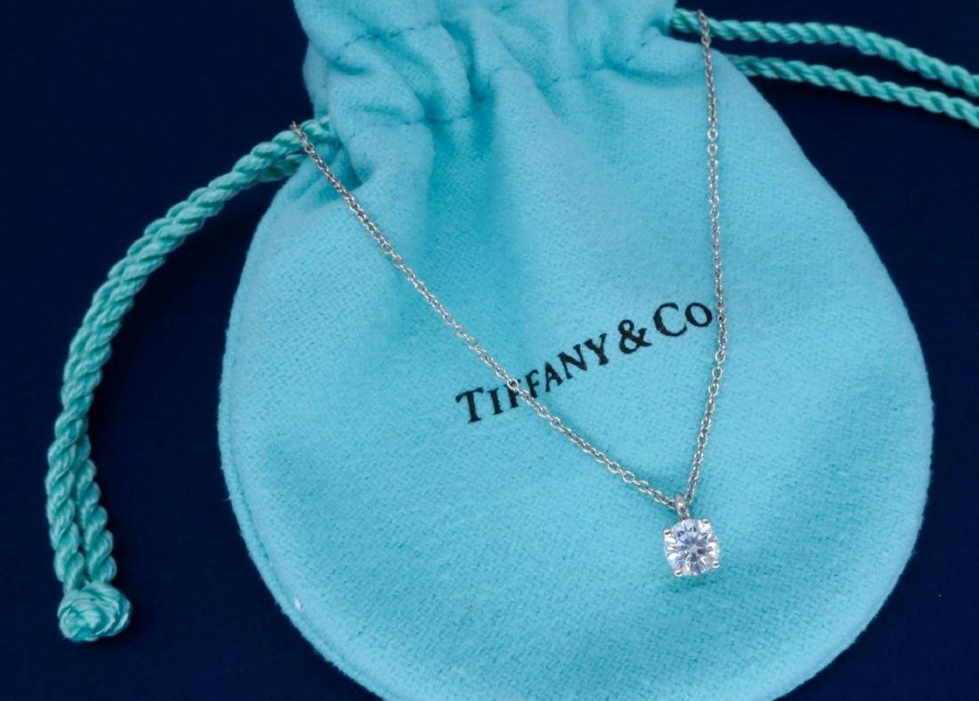 Tiffany & Co Platinum 0.45ct Diamond Pendant with Chain