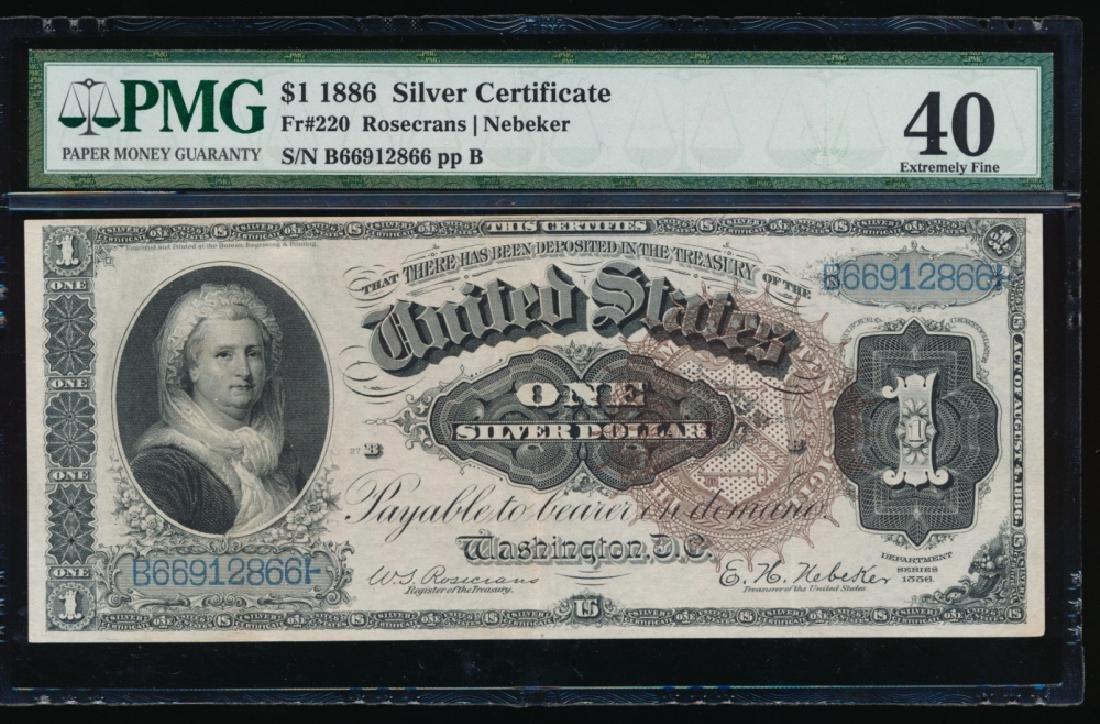 1886 $1 Silver Certificate PMG 40