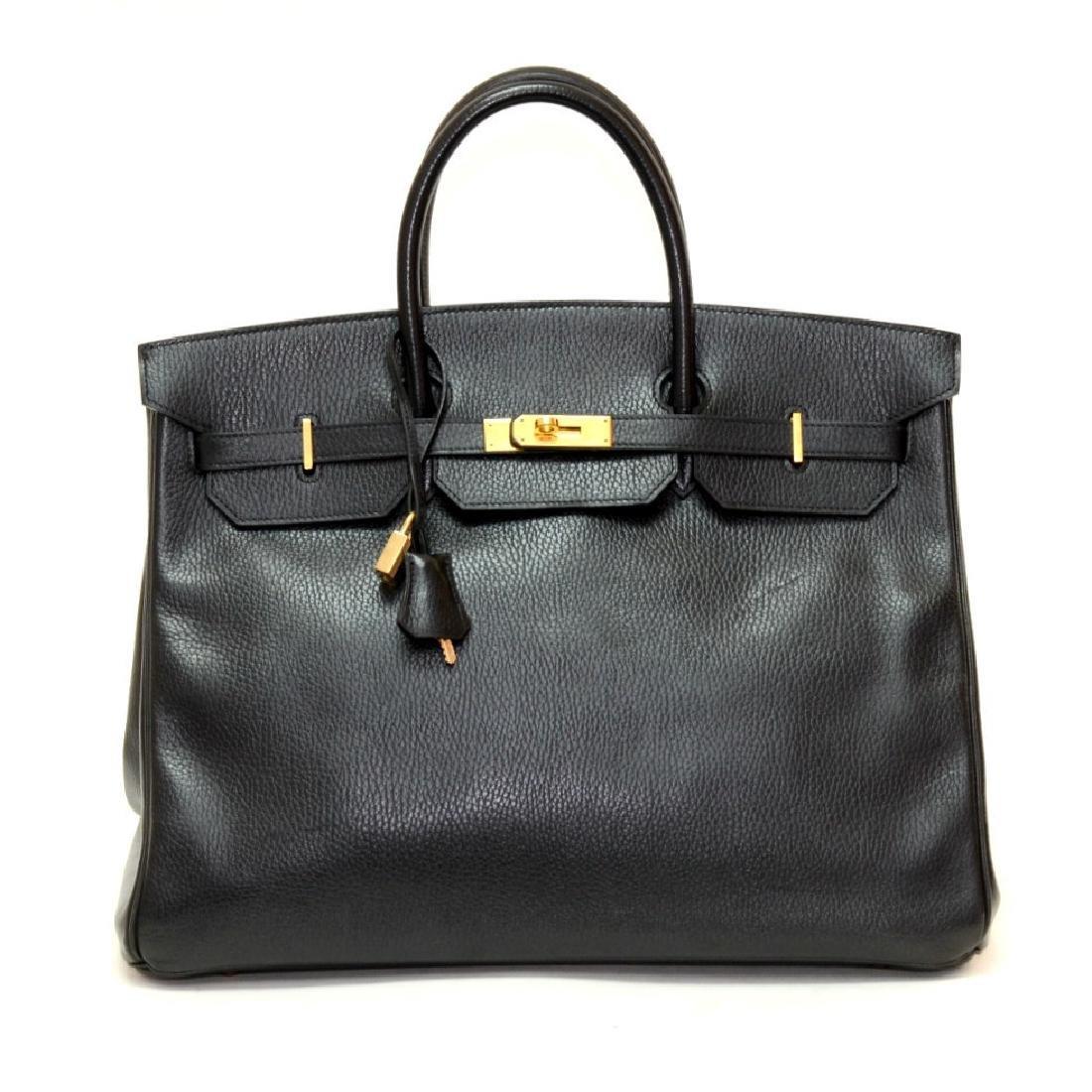 Hermes Birkin 40cm Black Ardenne Leather Bag with Gold