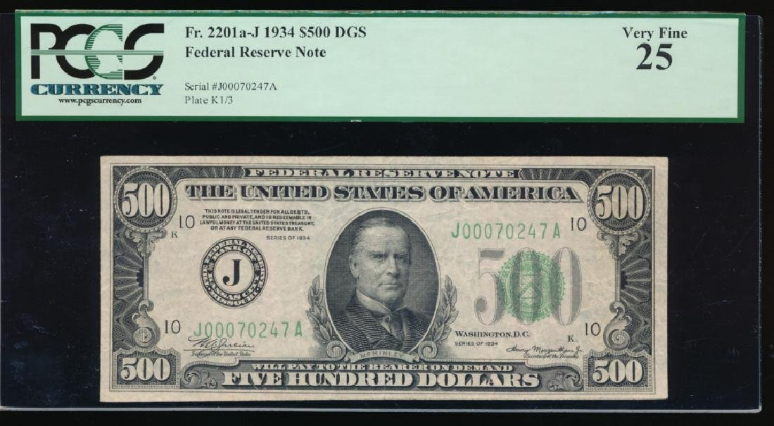 1934 $500 Kansas City Federal Reserve Note PCGS 25