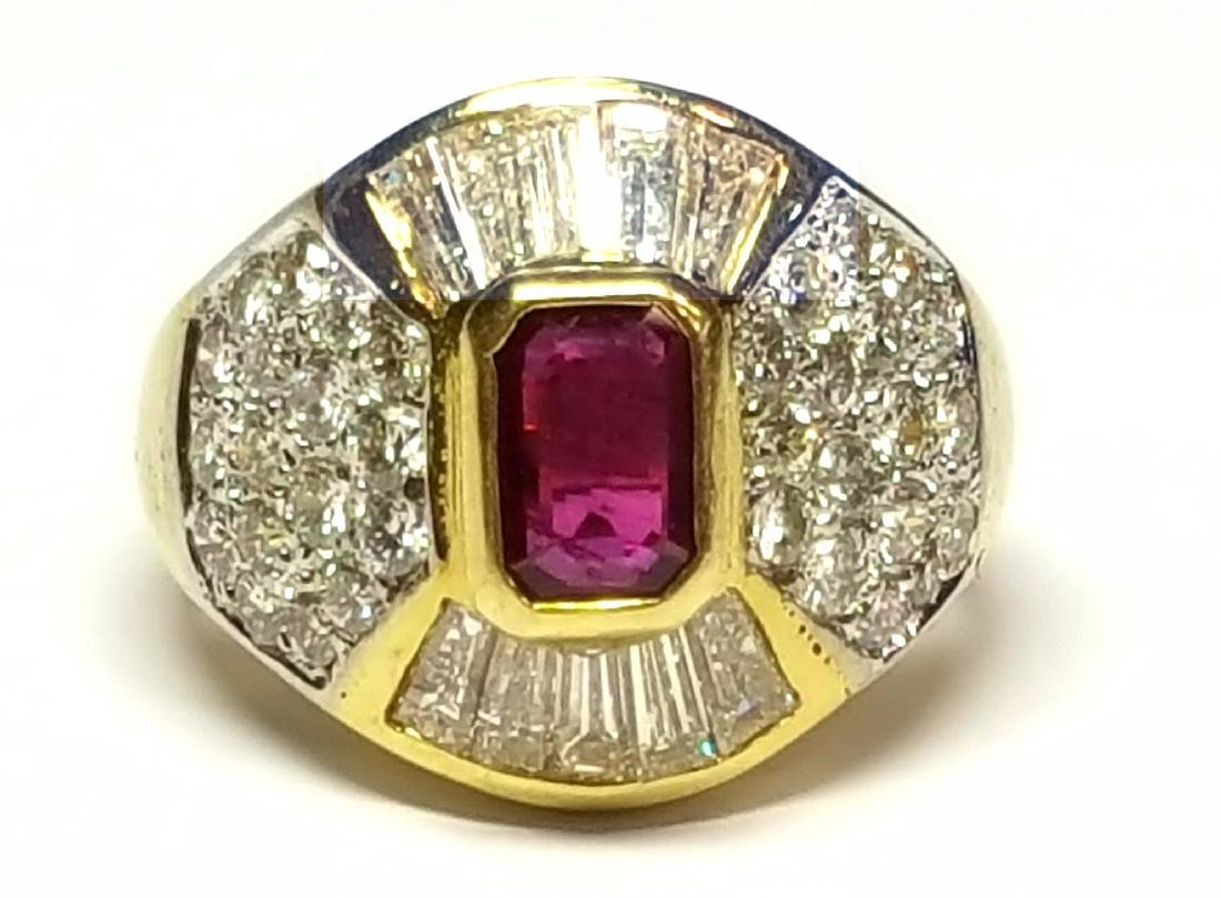 18KT Yellow Gold 2.30ctw Ruby and Diamond Ring