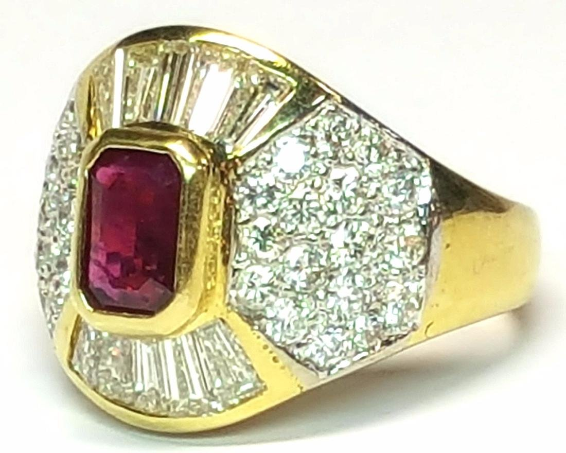 18KT Yellow Gold 2.30ctw Ruby and Diamond Ring - 2