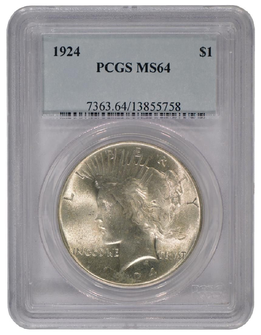 1924 $1 Peace Silver Dollar Coin PCGS MS64