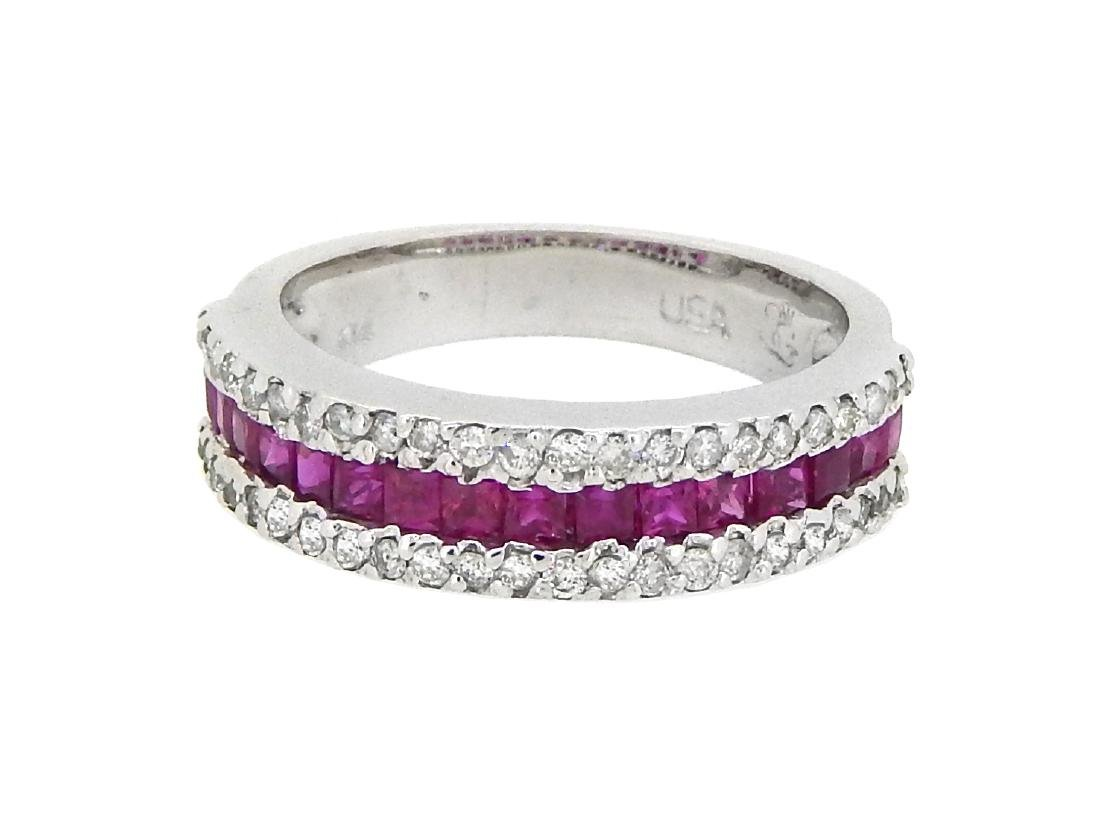 14KT White Gold 0.95ctw Ruby and Diamond Ring