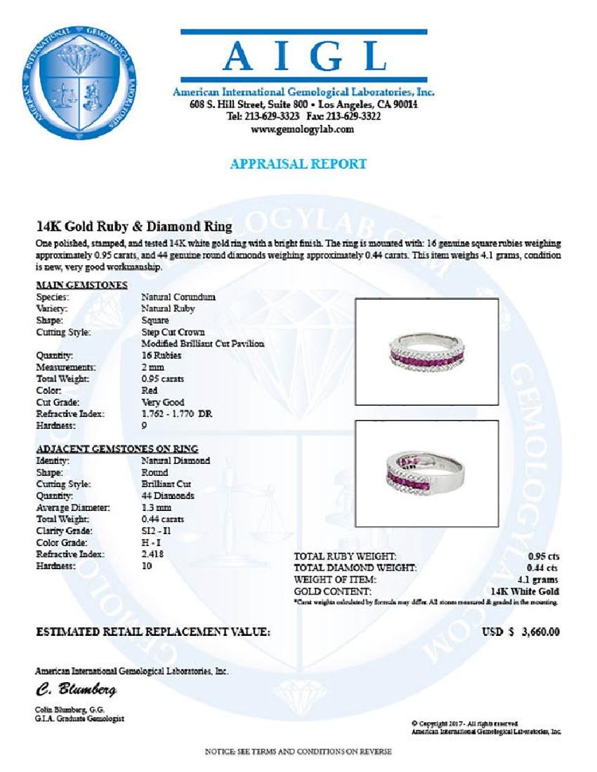 14KT White Gold 0.95ctw Ruby and Diamond Ring - 3