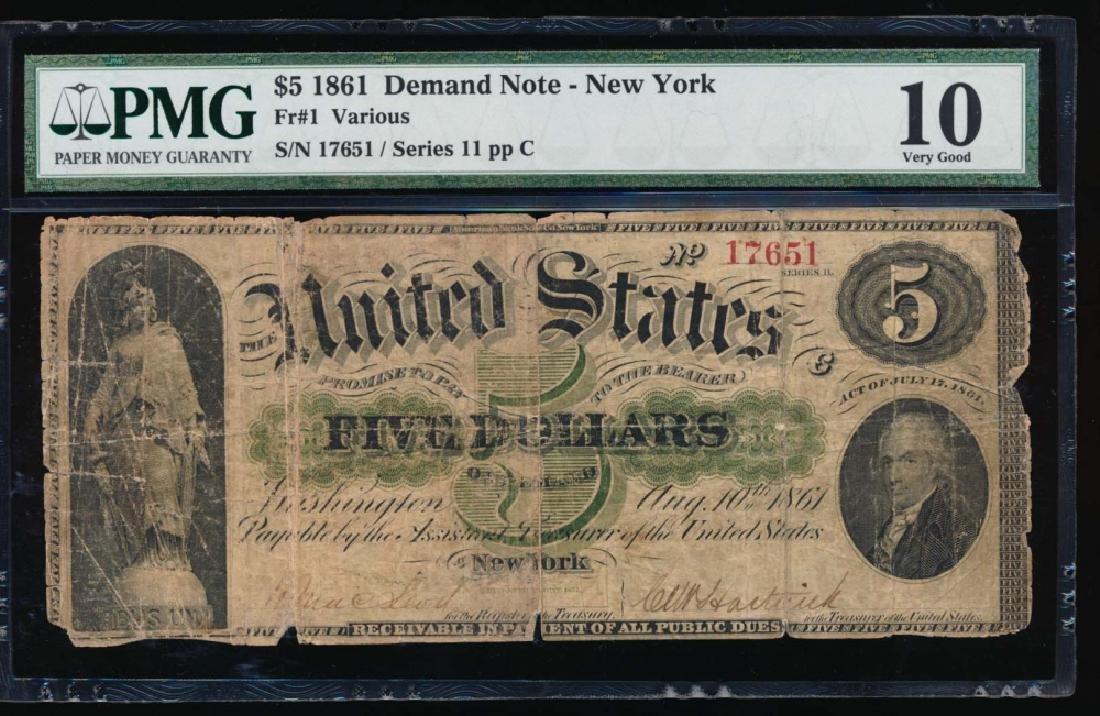 1861 $5 New York Demand Note PMG 10