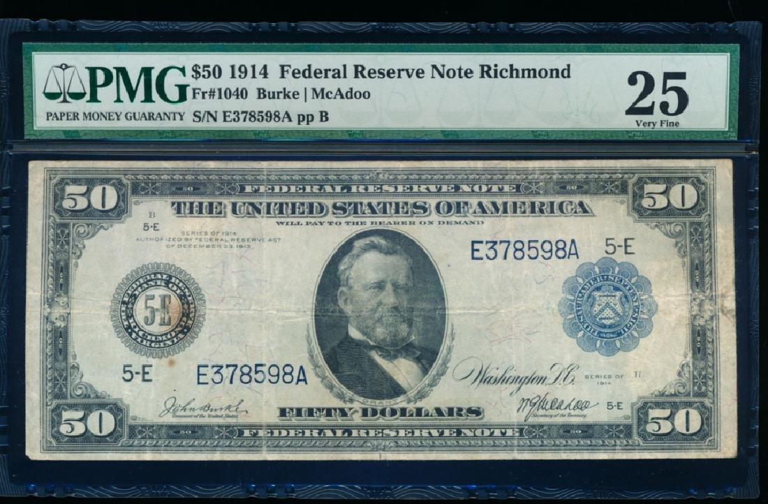 1914 $50 Richmond Federal Reserve Note PMG 25
