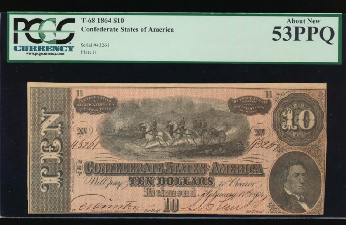 1864 $10 Confederate States of America Note PCGS 53PPQ