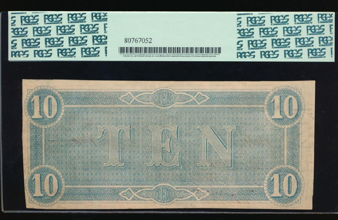 1864 $10 Confederate States of America Note PCGS 53PPQ - 2