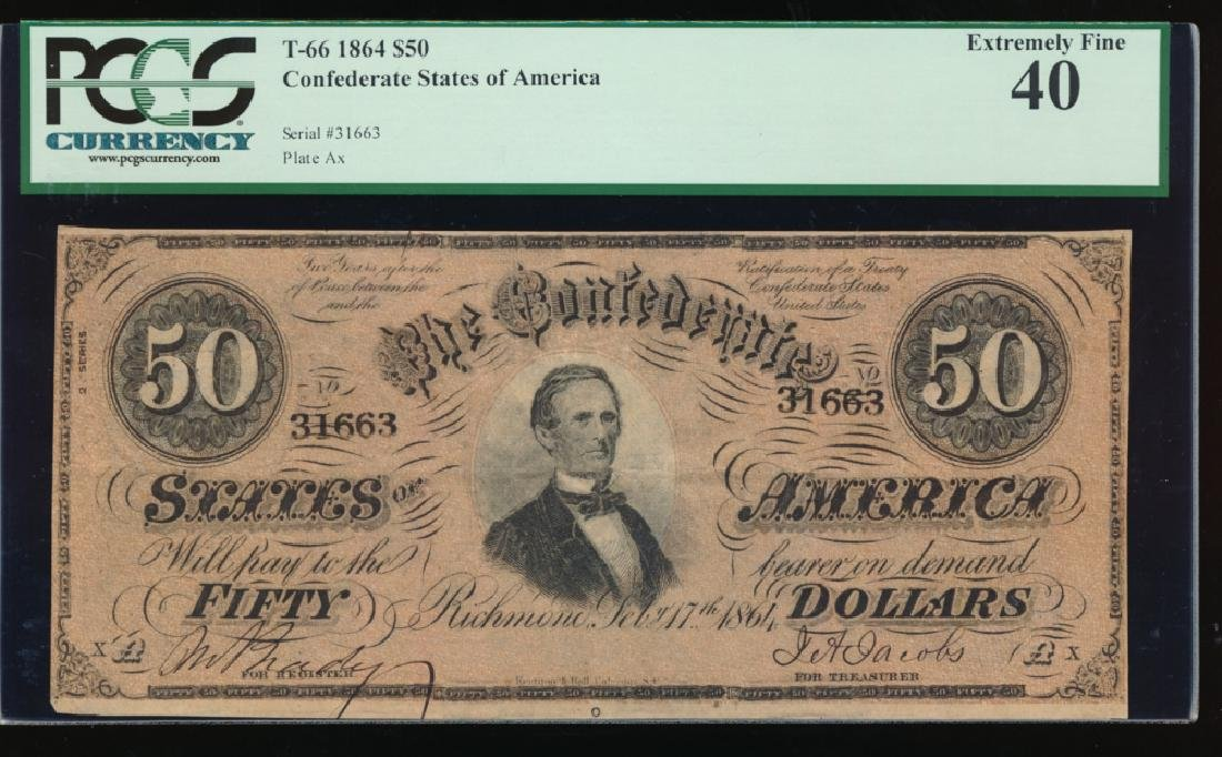 1864 $50 Confederate States of America Note PCGS 40