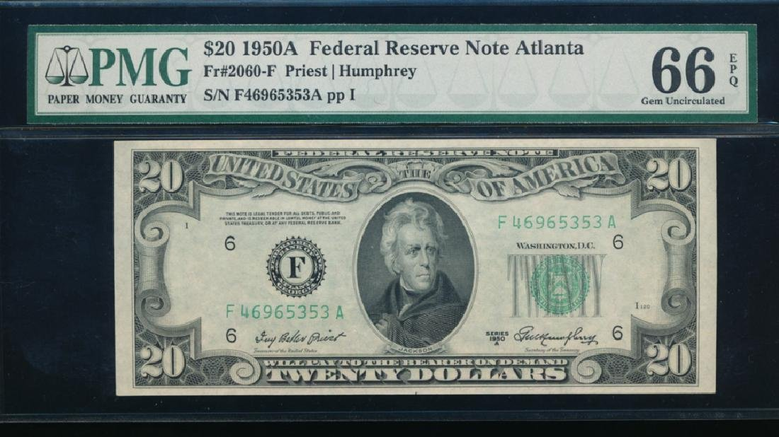 1950A $20 Atlanta Federal Reserve Note PMG 66EPQ