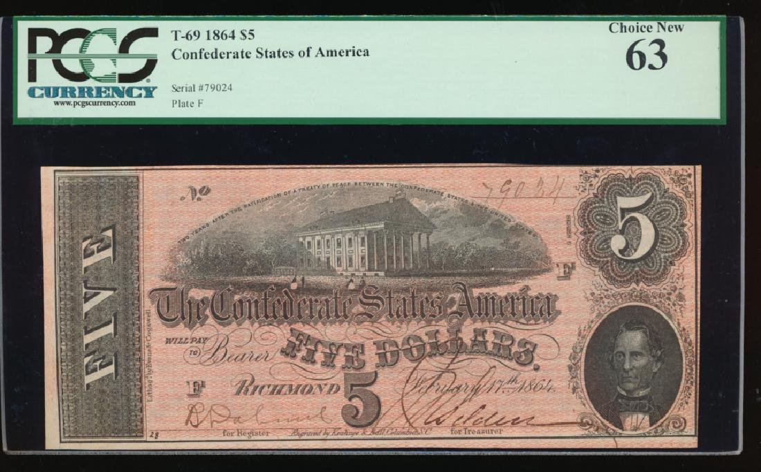 1864 $5 Confederate States of America Note PCGS 63