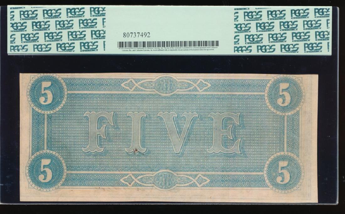 1864 $5 Confederate States of America Note PCGS 63 - 2