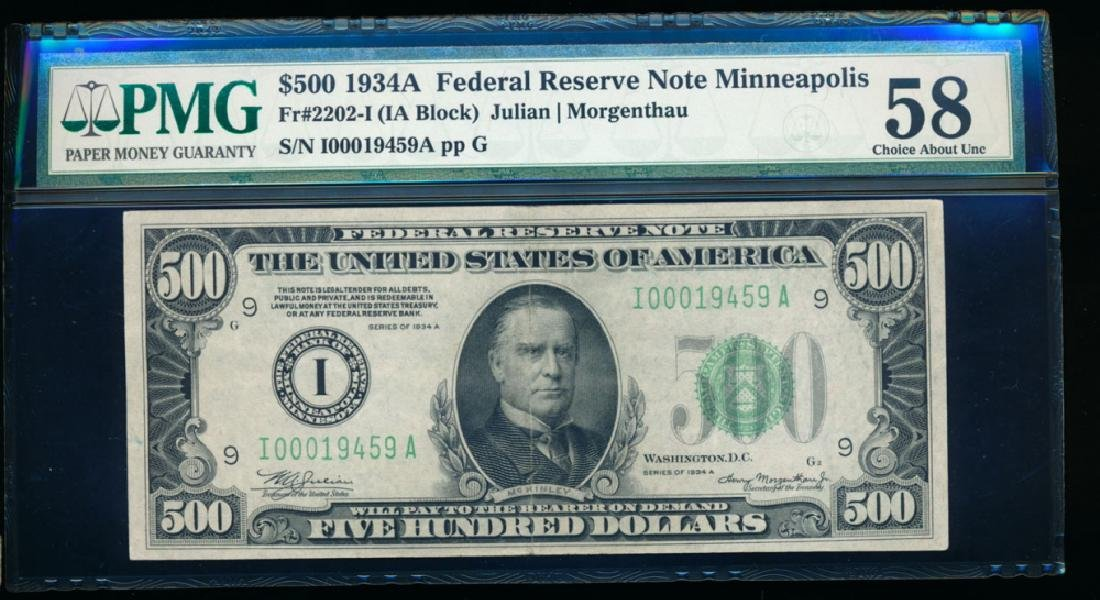 1934A $500 Minneapolis Federal Reserve Note PMG 58
