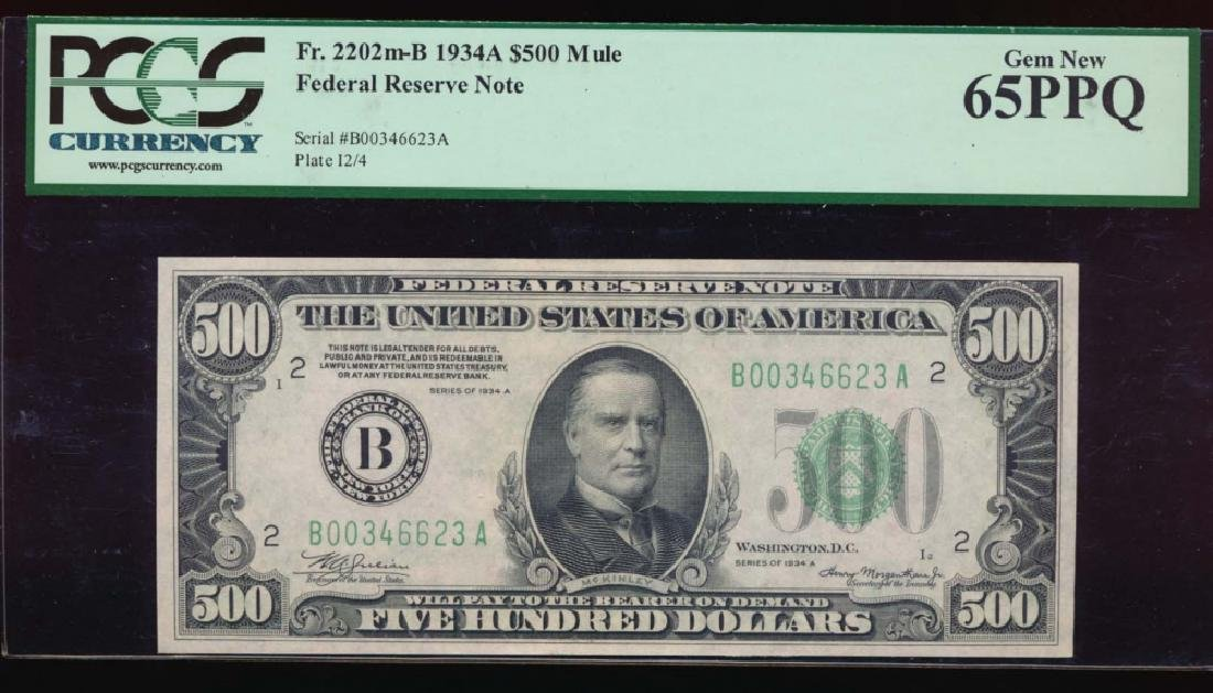 1934A $500 New York Federal Reserve Note PCGS 65PPQ