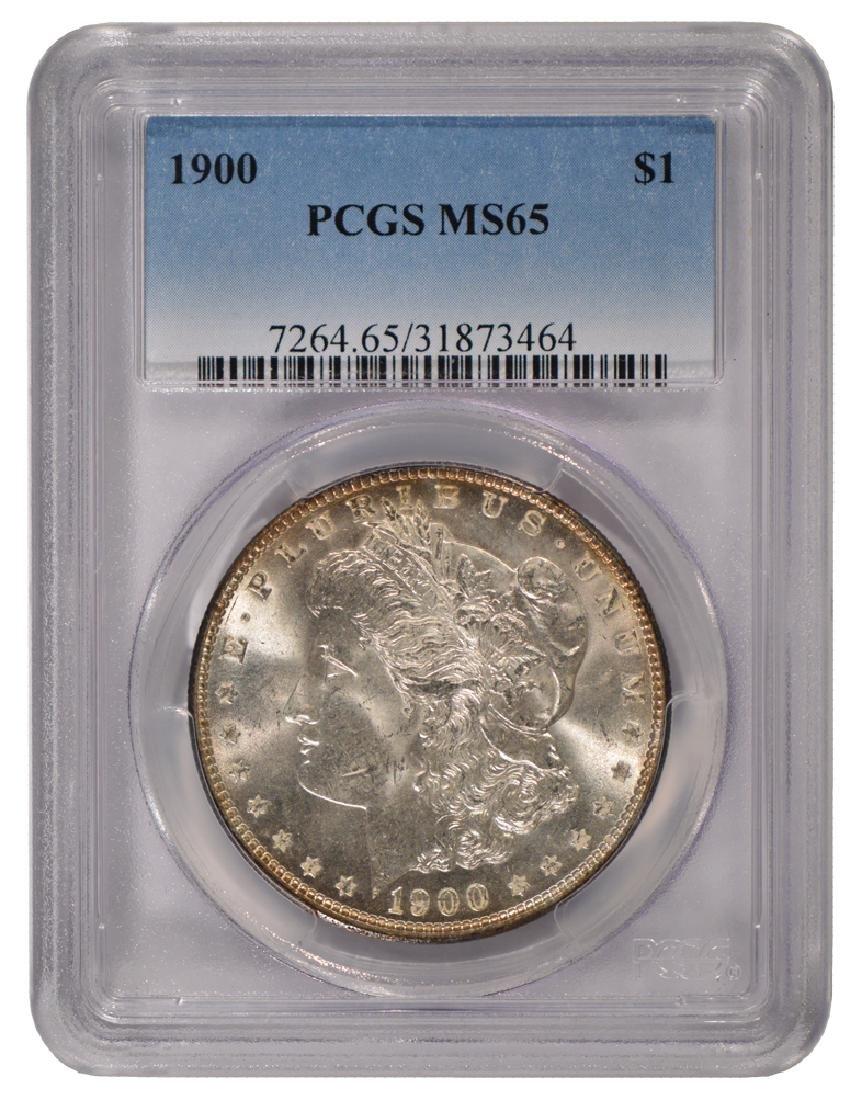 1900 $1 Morgan Silver Dollar Coin PCGS MS65