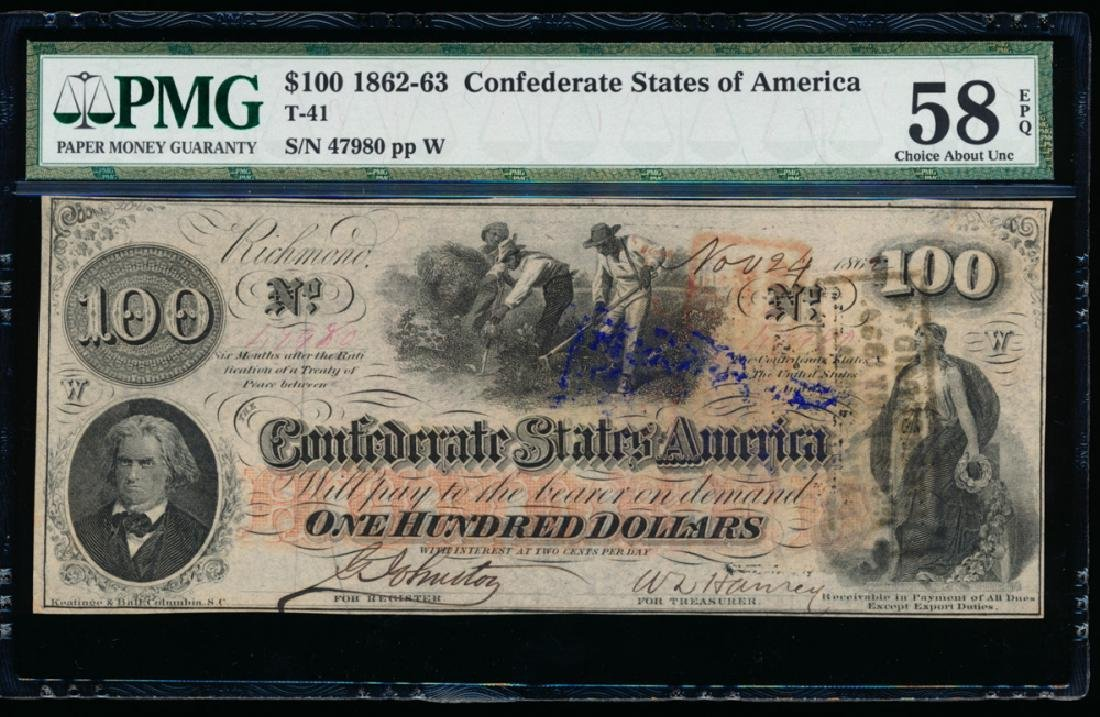 1862-63 $100 Confederate States of America Note PMG