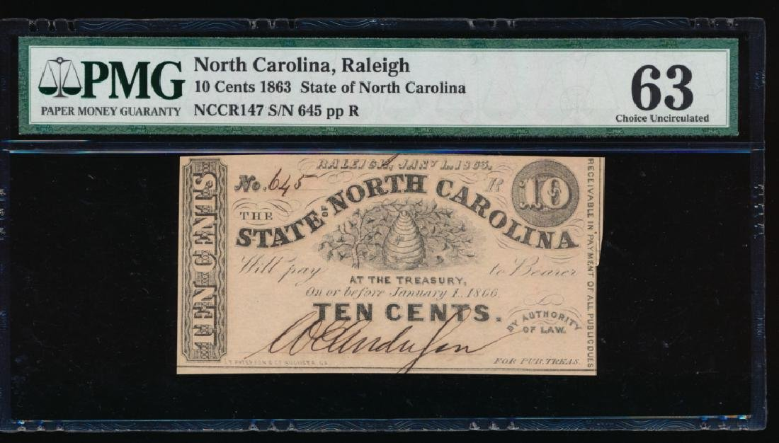 1863 10 Cent North Carolina Obsolete Note PMG 63