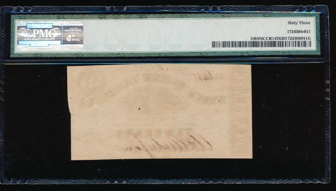1863 10 Cent North Carolina Obsolete Note PMG 63 - 2