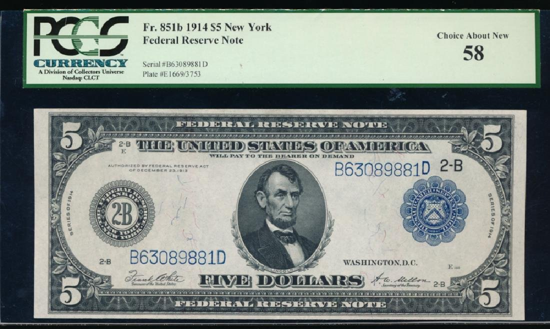 1914 $5 New York Federal Reserve Note PCGS 58