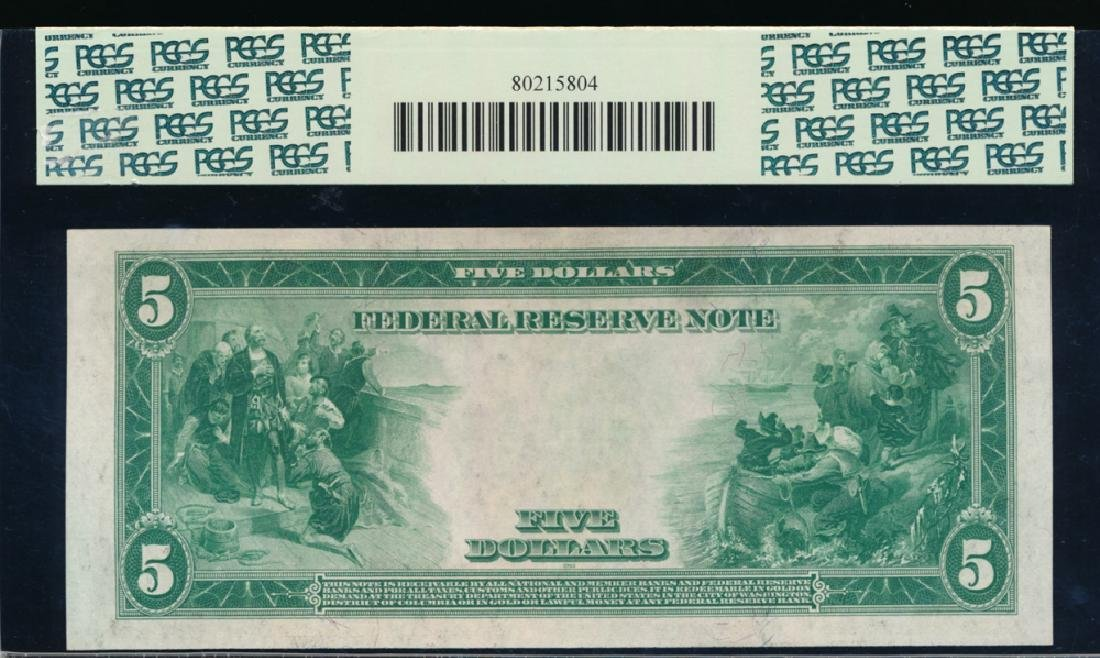 1914 $5 New York Federal Reserve Note PCGS 58 - 2
