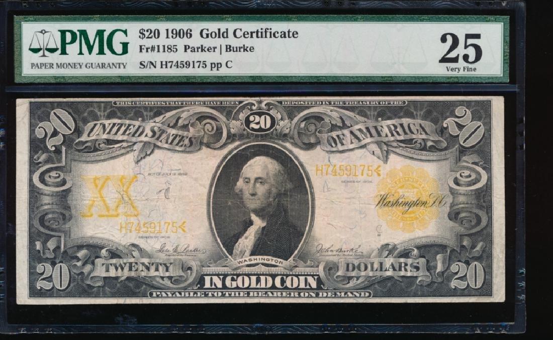 1922 $20 Gold Certificate PMG 25