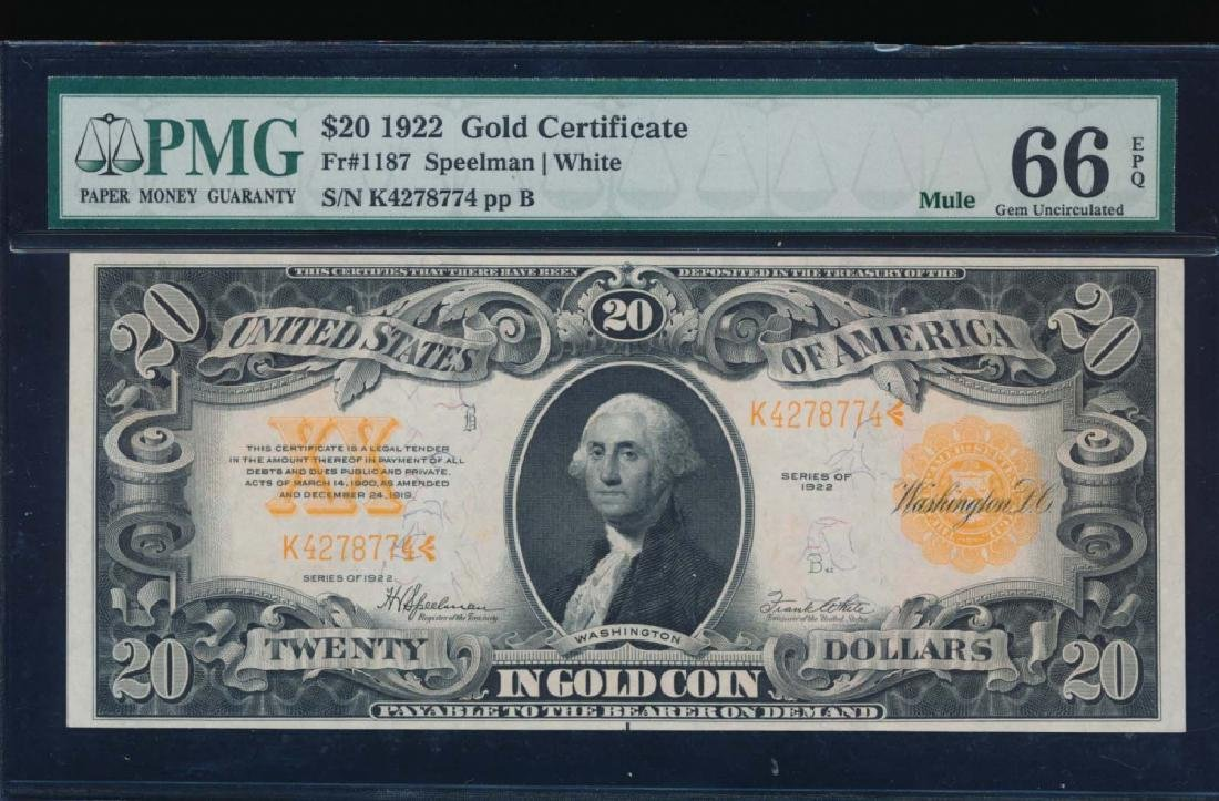 1922 $20 Gold Certificate PMG 66EPQ