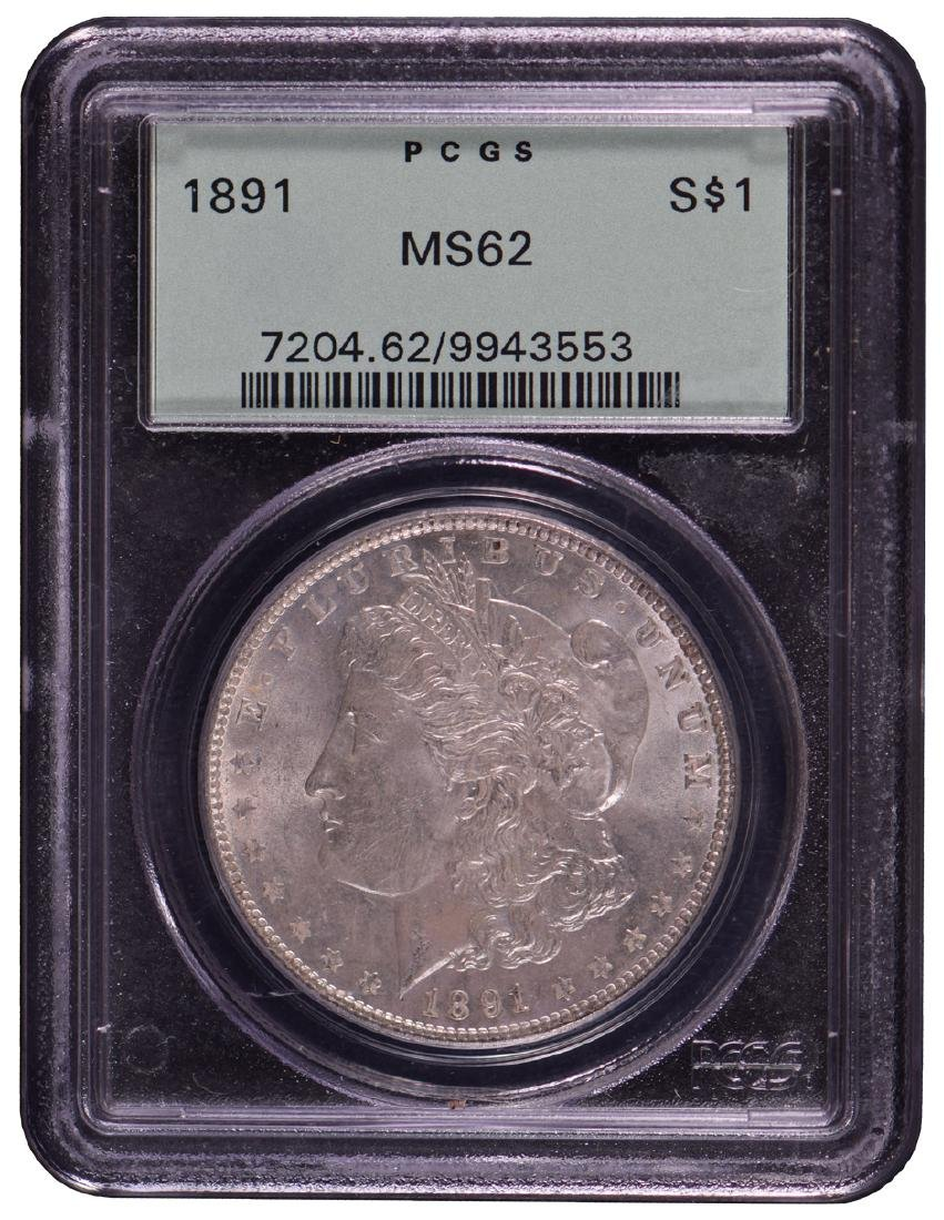 1891 $1 Morgan Silver Dollar Coin PCGS MS62